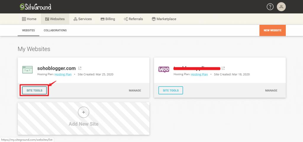 click the relative domain Site tools