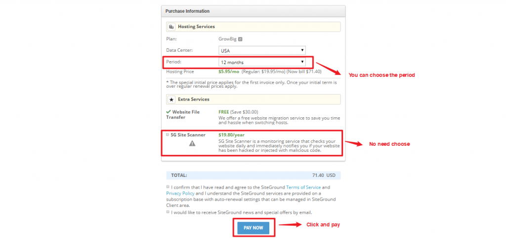 Choose the period time and get the web hosting account