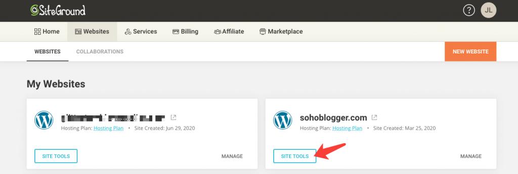 进入网站site tools
