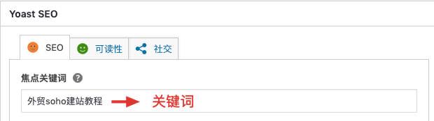 yoast seo插件关键词布置位置